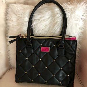 Betsey Johnson Handbag W/Hearts Pink & Black